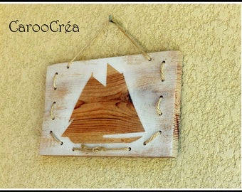 Decorative painting wooden sailor, marine decoration, boat painting, sailboat frame Panel wood boat