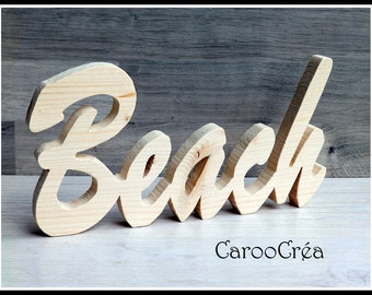 Beach Word wooden Word beach, wooden letters, fretwork, marine decor, beach