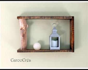 Driftwood shelf, shelf wood pallet shelf branch, decorative shelf, shelf grey cube shelf