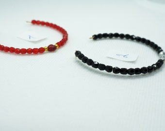 Thin bracelet, trendy, black, red, faceted beads