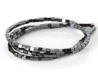cubes, hematite, black, 4mm beads 10/20