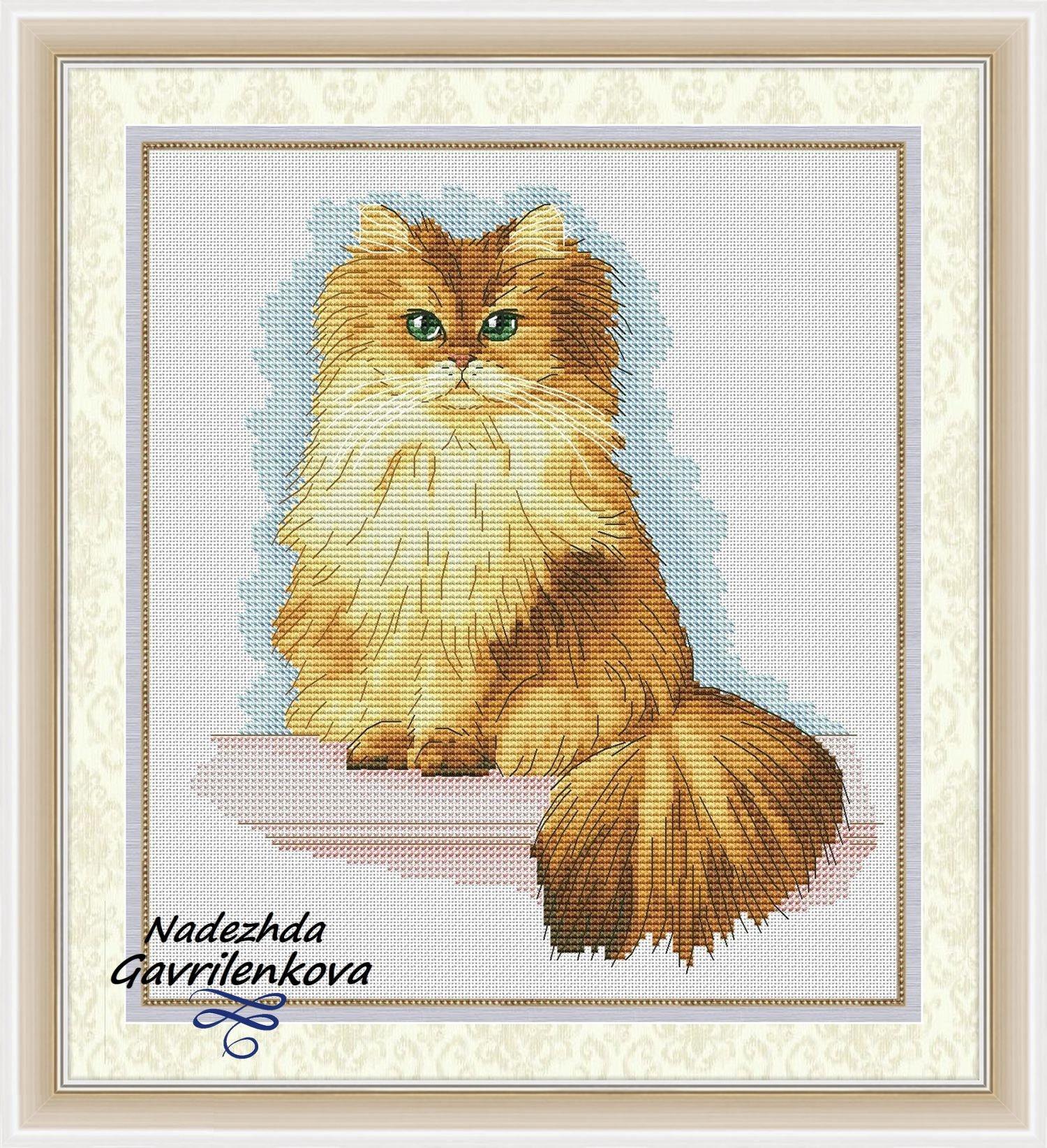 Caramel Cat Cross Stitch Pattern Animal pattern Modern cross stitch ...
