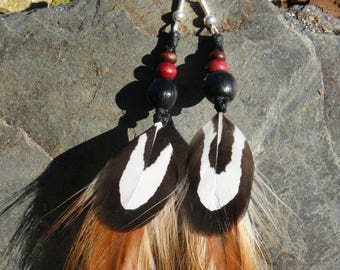 Macrame necklace with feather earrings