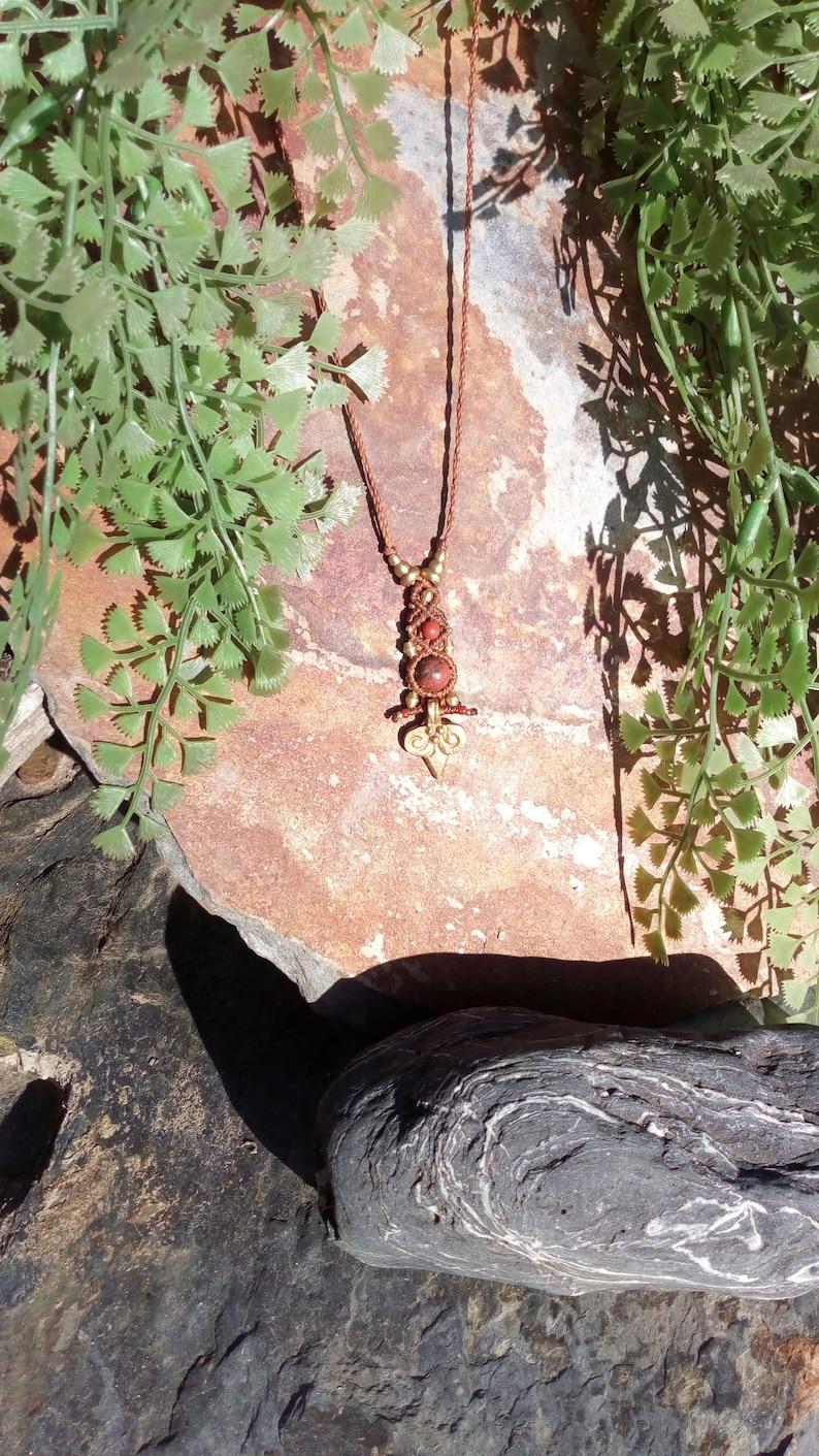 Macram\u00e9 pendant with two natural red jasper beads Red Jaspe