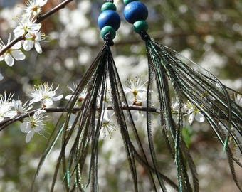 Macrame earrings, wooden beads and peacock feathers