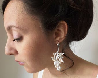 Earrings cotton lace, beaded