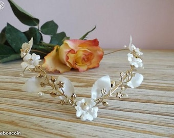 Ivory bridal half wreath, original Golden