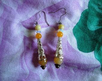 Yellow tube earrings