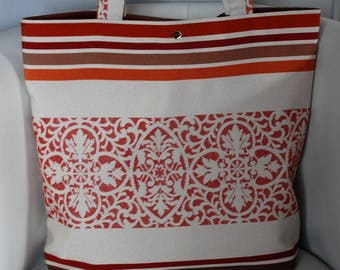 Tote bag red/orange/brown/white upholstery fabric