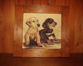 """table wooden rustic """"Duo puppies"""""""