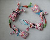 Marius the pink rabbit wreath - printed fabric garland - rabbit garland - handmade soft garland