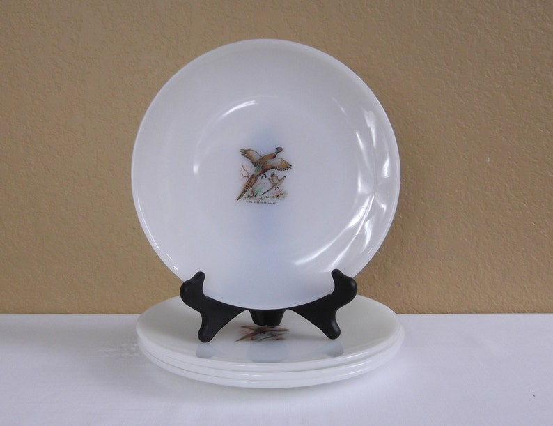 Fire-King Game-bird 9 Dinner Plates; Ring-Necked Pheasant Plates Plates 4 Set of four