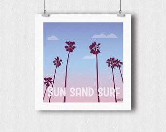 Sun Sand Surf poster - Palm tree sunset