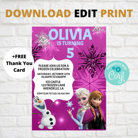 Editable Frozen Birthday Invitation Anna And Elsa Invites Frozen Themed Party Invitation Card Self Edit Text Instant Download Printable