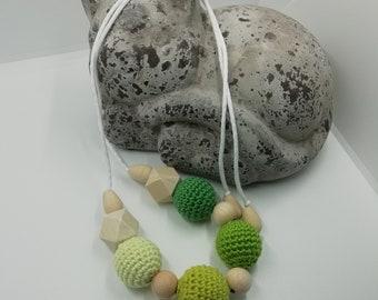 Babywearing necklace / nursing green tones