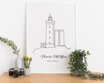 Phare du Petit Minou, Poster Lighthouse of Brittany, lighthouse of Finistère,