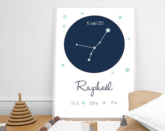 Personalized birth poster first name baby constellation