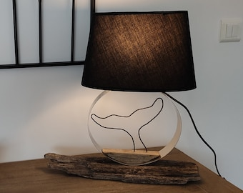 Driftwood decorative lamp, with whale tail, black lampshade