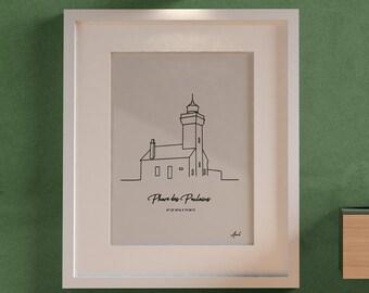 Poster Des Poulains (Belle-Ile-en-Mer, Sauzon,Morbihan) for frame, Atlantic flagship silhouette