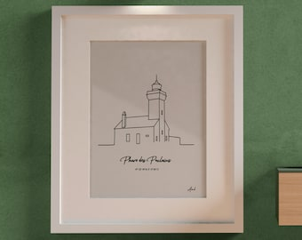 Phare des Poulains, Poster Lighthouse of Brittany, lighthouse Côte d'Armor, Beautiful Island at sea