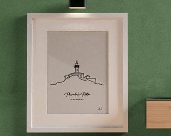 Pietra Lighthouse, Corsica Lighthouse Poster, illustration, poster