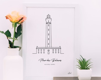 Lighthouse poster of the Whales (Ile de Ré - Charente Maritime) for frame, Atlantic flagship silhouette