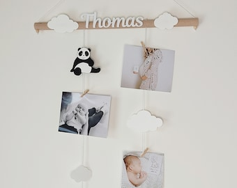 Mixed mix, mobile photo holder, birth list, baby room decoration, pandas, clouds
