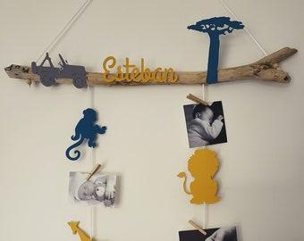 Mixed fish, mobile door photos driftwood, birth list, baby room, baby shower, savannah, jungle, giraffe, elephant, monkey, lion,