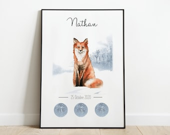 Personalized birth poster first baby winter animals