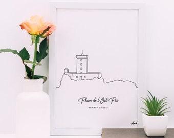 Ost Pic Lighthouse, Poster Lighthouse of Brittany, Côte d'Armor Lighthouse, Morbihan, Ile et Vilaine