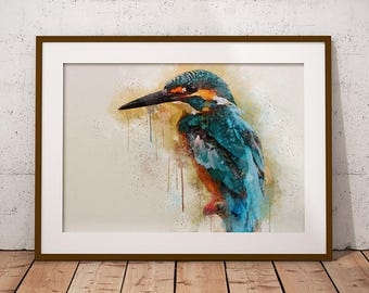 Kingfisher Watercolor Painting, Printable Wall Art Print, Watercolor Print, Kingfisher bird, Instant Download, Digital Download, Home Decor