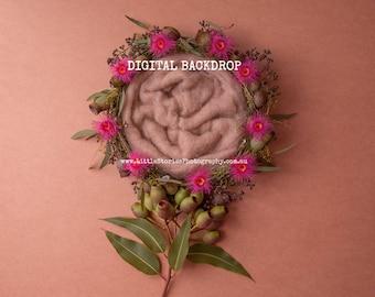 Digital Backdrop for girls floral Digital Background newborn photography wreath tree prop download flowers overlay pink High Res jpg file #8