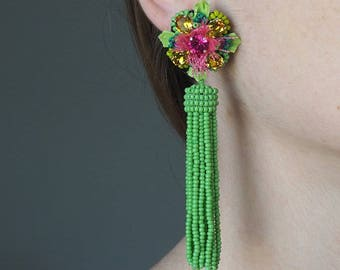 "Embroidered earrings unique, made entirely by hand, ""Gardens of the world"""