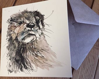 Otter - Blank art greetings card