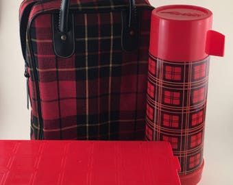 Vintage Picnic Tote Aladdin Thermos Lunch Box Red Tartan Plaid Collectible/ 1950s Aladdin Thermos Lunch Box Set/ Vintage Plaid Lunch Box