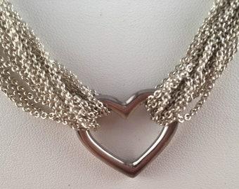 1aeb1be83 Tiffany & Co Sterling Silver Heart Multi Strand Mesh Toggle Necklace,  Tiffany Heart Necklace, Sterling Open Heart Necklace, Sterling Tiffany