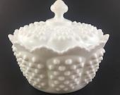 Fenton Hobnail Milk Glass Covered Candy Dish Bowl, Hobnail Covered Bowl with Fenton Paper Label, Wedding Bowl, Cottage, Shabby Chic, Fenton