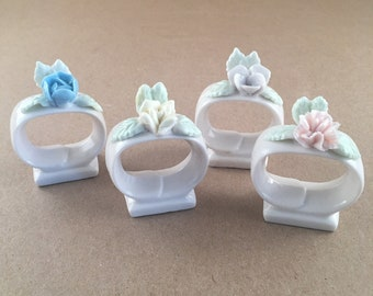 Antique Set 6 Ardalt Lenwile Porcelain Handmade Flower Napkin Ring Holders Japan Other Antique Ceramics