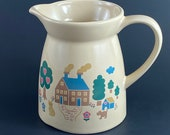 Vintage Vermillion Welcome To My Home Stoneware Pitcher, Vermillion Country Farmhouse Pitcher