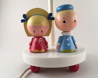 Vintage IRMI Child's  Nursery Lamp Plastics, Inc., Hand Painted Originals By IRMI, Vintage Nursery Decor Baby IRMI New York