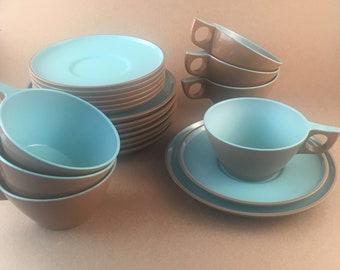 Melamine Texas-ware Turquoise and Brown Dinnerware ... & Texas dinnerware   Etsy