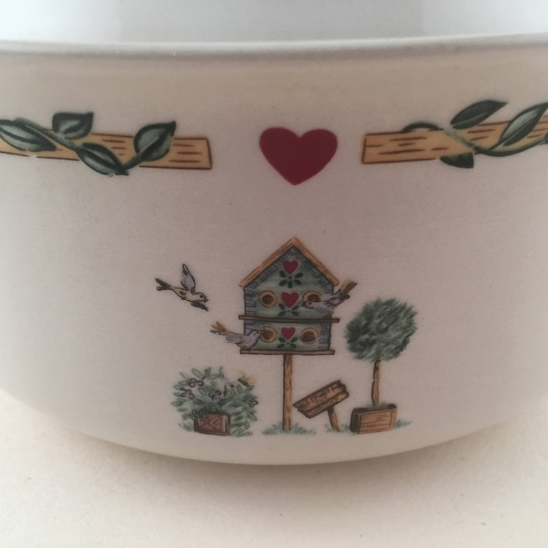 Vintage Casserole Birdhouse Pottery from Thomson Pottery Vintage Thomson Birdhouse Pottery Birds-Hearts Casserole Dish with Birds Trees