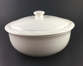 Acadia White by PFALTZGRAFF Round Covered Vegetable Casserole Dish / Vintage White Casserole Dish Pfaltzgraff / Pfaltzgraff Replacements