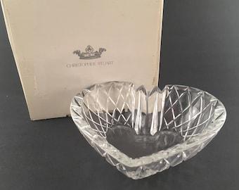 Vintage Christopher Stuart Austrian Crystal Heart Shaped Ashtray Candy Dish Trinket Dish, Vintage Heart Shaped Bowl Trinket Candy Dish