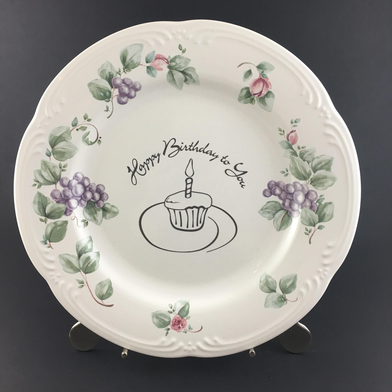 Excellent Pfaltzgraff Grapevine Happy Birthday Cake Plate Vintage Happy Etsy Birthday Cards Printable Trancafe Filternl