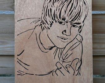 Portrait of Justin BIEBER woodcut, scalloped
