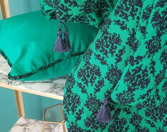 Emerald Damask Regent Trim Canvas Throw Cushion Cover