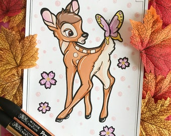 Drawing handmade Bambi (ORIGINAL, no print)