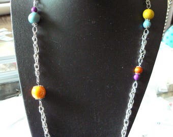 set silver metal chain lined multicolor with ceramic beads, resin, wood, glass