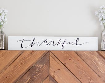 Thankful Sign Wood Sign | Home Decor
